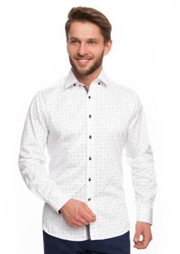 Koszula męska Leger biała, gładka, niebieski guzik, krótki  9GOId